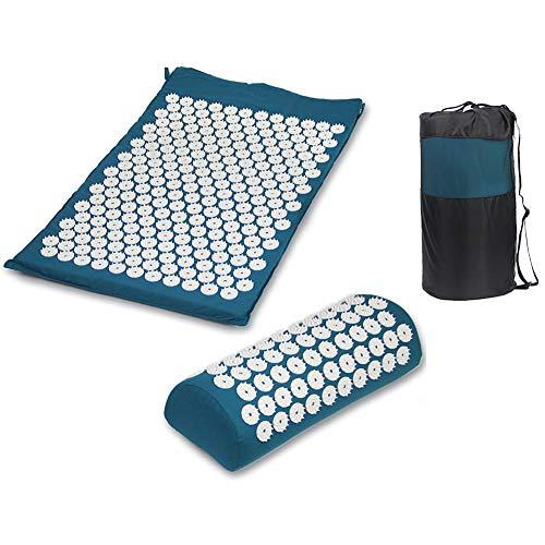 Yoga-Spikes Deurmat met digitale druk, kussen ter verlichting van stress en spanning, pijn en acupunctuur, deurmat met draagtas Blauw