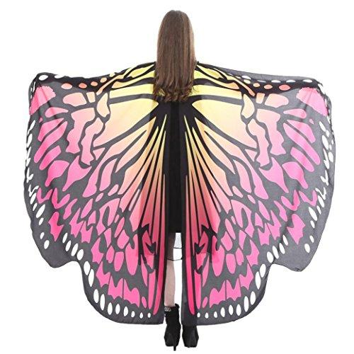 SHOBDW Hot !!! Schmetterlings Flügel Schal Frauen Schmetterlingsflügel Schal Schals Damen Nymphe Pixie Poncho Kostüm Zubehör für Fasching (168 * 135CM, Heiß Rosa-F)
