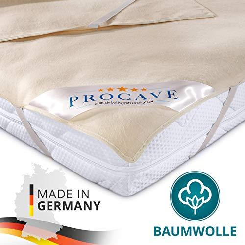 PROCAVE Matratzen-Auflage aus 100% Baumwolle, Natur-Matratzenschoner atmungsaktiv, hochwertige Moltonauflage als Matratzenschutz, Premium Qualität Made in Germany 200x200 cm
