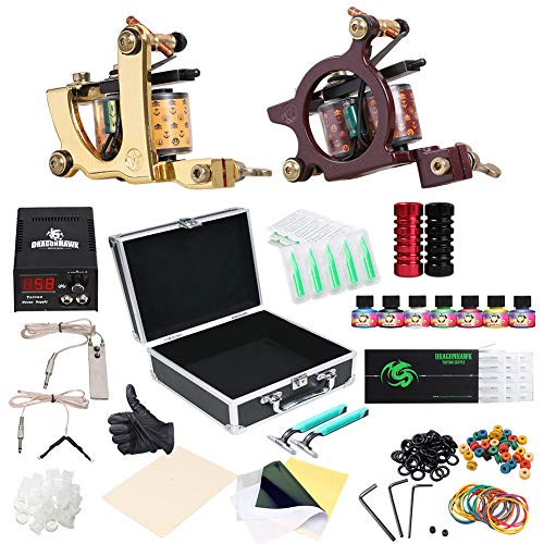 Dragonhawk Complete Tattoo Kit 2pcs Coil Tattoo Machine Tattoo Guns Color Immortal Inks Power Supply Needles Tips Grips Tattoo Supplies for Tattoo Artists