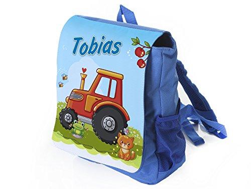 Kleiner Blauer Kinderrucksack Traktor in rot mit Name Bedruckt, Ideal für Kita/Kindergarten, Kindergartenrucksack, Kindergeburtstag, Ostern, Weihnachten