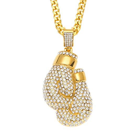 Halskette mit Boxhandschuhe-Anhänger für Herren/Damen, vergoldet, mit Zirkoniasteinen, Punk-/Hip-Hop-Anhänger, Kettenlänge: 69,9cm