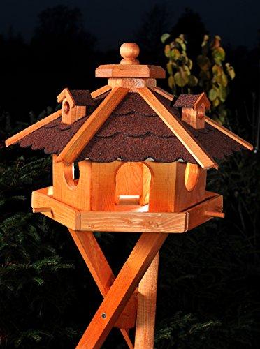 Vogelhaus Futterhaus Futterhäuschen Vogelvilla V12, Vogelfutterhaus aus Holz mit Solarbeleuchtung beleuchtet mit und ohne Ständer (Rot, mit Ständer)