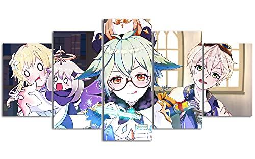 YLAXX Genshin Impact Sacarosa Lienzo Impreso 5 Paneles combinación de Pintura Lienzo impresión decoración del hogar Pinturas para Sala de Estar 150x80 cm Pintura sin Marco