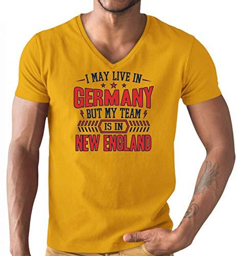 Patriots New England Pats Football Super Bowl Premium T-Shirt Herren V-Neck Herrenshirt, Größe:XL, Farbe:Orange (Orange L151)