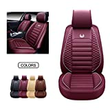 OASIS AUTO Leather Car Seat Covers, Faux Leatherette Automotive Vehicle Cushion Cover for Cars SUV Pick-up Truck Universal Fit Set for Auto Interior Accessories (OS-011 Front Pair, Burgundy)