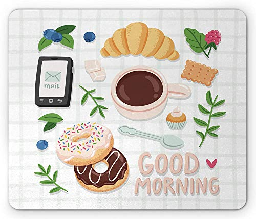 Morgen Muismat ontbijt koffie croissant framboos en chocolade donuts hipster illustratie rechthoek anti-slip muismat