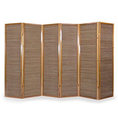 Homestyle4u 384 Paravent 6 teilig Raumteiler 6 Fach Holz Braun Shoji Bambus Trennwand Spanische Wand...