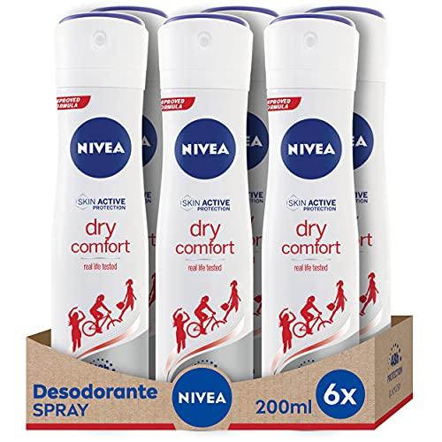 NIVEA Dry Comfort en pack de 6 (6 x 200 ml), desodorante antitranspirante con protección 48 horas, spray desodorante de cuidado femenino testado en la vida real