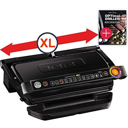 Tefal OptiGrill+ Plus XL-Grillfläche intelligenter Kontaktgrill Rezeptbuch, 9 Grillprogramme, Ideale Grillergebnisse blutig bis durchgebraten, antihaftversiegelte Aluguss-Platten, Gusseisen