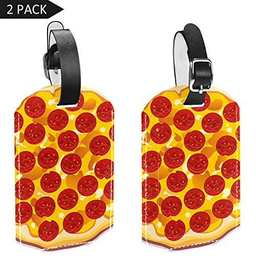 Luggage Tags Pizza with Pepperoni Slices Leather Travel Suitcase Labels 2 Packs