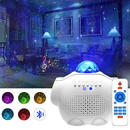 Amouhom Sternenhimmel Projektor, LED Wasserwelle Projektor Lampe mit Fernbedienung und Bluetooth 5.0 Einstellbare Helligkeit für Kinder, Freunde, Schlafzimmer