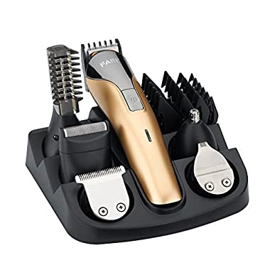 FARI All In One Multifunctional Rechargeable Electric Hair Trimmer Grooming Kit Nose Ear Beard Clipper and Mustache Trimmers Shaver Suit Hair Cutter for Barbers Salon with Fast Charge Champagne Color