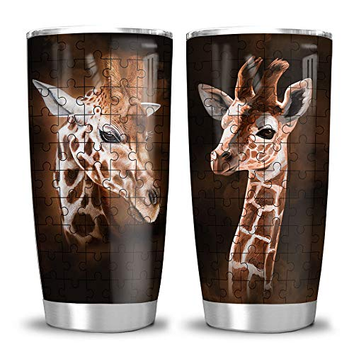 64HYDRO 20oz Giraffe Lover Gift Tumbler Cup with Lid, Double Wall Vacuum Sporty Thermos Insulated Travel Coffee Mug