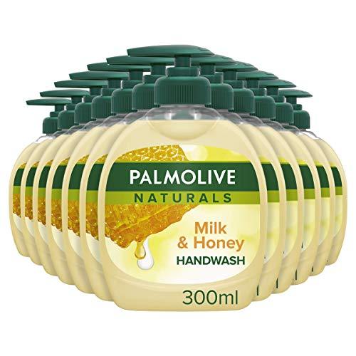 Palmolive Naturals Milch & Honig Handwäsche, 300 ml, 12 Stück, seifenfreie Formel, dermatologisch getestet, weich & pflegend (12 x 300 ml)
