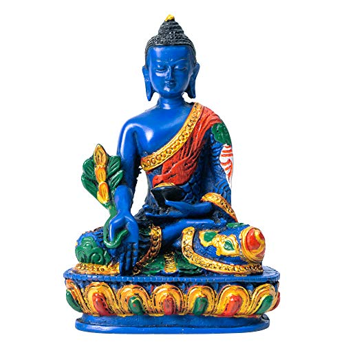 Juccini Buddha Meditation Statue ~ Indoor, Outdoor, Garden Buddha Decoration ~ 5' Colorful Spiritual Figurines for Home & Office ~ Hand Painted in Nepal (Medicine Buddha)