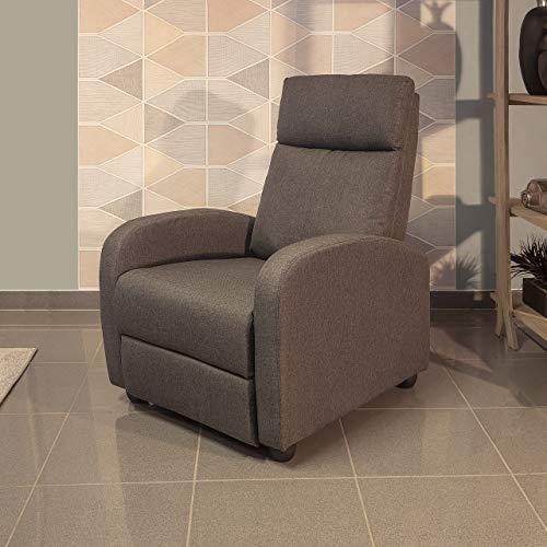 Homely Sillón Relax Shine con Sistema de Relax Manual tapizado Tela Gris Oscuro