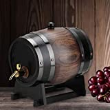 【Christmas gift】3L Oak Beer Barrel, Household Striped Wine Keg Wooden Dispenser Beer Brewing Equipment, for Beer, Wine, Whiskey, Tequila, Rum, Hot Sauce