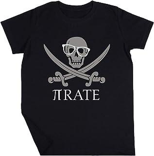 Pirata Humor Mates Número Pi Empollón Camisa Niño Niña Unisexo Negro Camiseta Manga Corta Kids Black T-Shirt