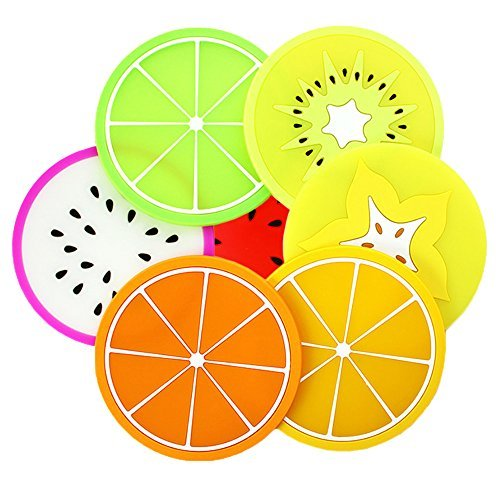 Relaxtime Silicone Coasters Heat Insualtion Antiskid Silica Gel Cup Mats Home Kitchen Supplies(7 Pieces)