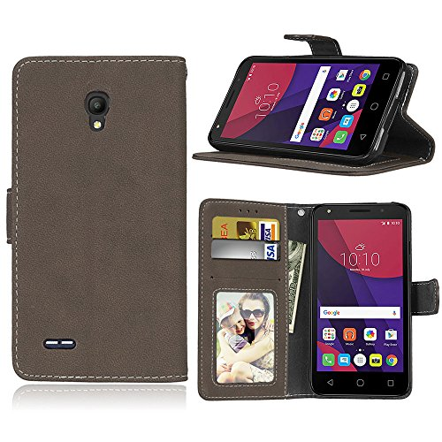Alcatel One Touch Go Play/Conquest Hülle, SATURCASE Retro Mattiert PU Leder Magnetverschluss Brieftasche Standfunktion Schutzhülle Handy Tasche Hülle für Alcatel One Touch Go Play/Conquest (Braun)