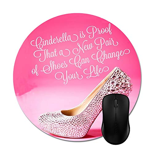 Cute Girly with Diamond Hell Shoes Print Mouse Pad 8' -Office Gaming Desktop Accessory