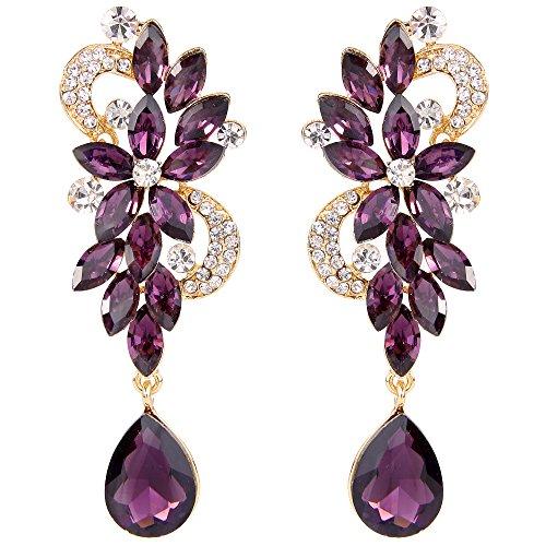 BriLove Women's Wedding Bridal Dangle Earrings Bohemian Boho Crystal Flower Chandelier Teardrop Bling Earrings Amethyst Color Gold-Toned