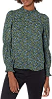 Amazon Brand - Lark & Ro Women's Georgette Long Sleeve Ruffle Crew Neck Top with Smocked Detail