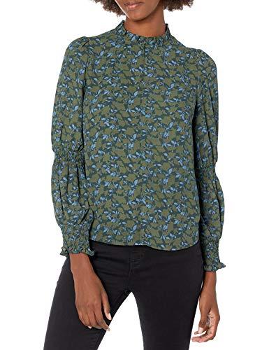 Brand Lark /& Ro Womens Crepe de Chine Long Sleeve Smocking Detail Crewneck Blouse