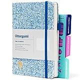 Bullet Dotted Journal A5 | 150gsm Puntinato Carta | Dotted Notebook Quaderno con Stencil Bonus | The Classic di Ottergami (Blu Macchiettaire)