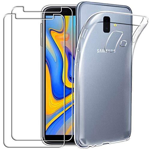 YOOWEI Coque Samsung Galaxy J6 Plus 2018 Transparente + [2 Pack Verre trempé écran Protecteur], Ultra Fine Transparente Silicone Gel TPU Etui de Protection Housse Antichoc pour Samsung Galaxy J6+ 2018