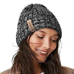 professional FURTALK Women's Knit Hat Men's Cotton-lined 2-layer winter hat (black blend, …