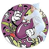 Alfombra circular lavable para el suelo, alfombra redonda para la cocina, el dormitorio y la sala de estar, berenjenas moradas