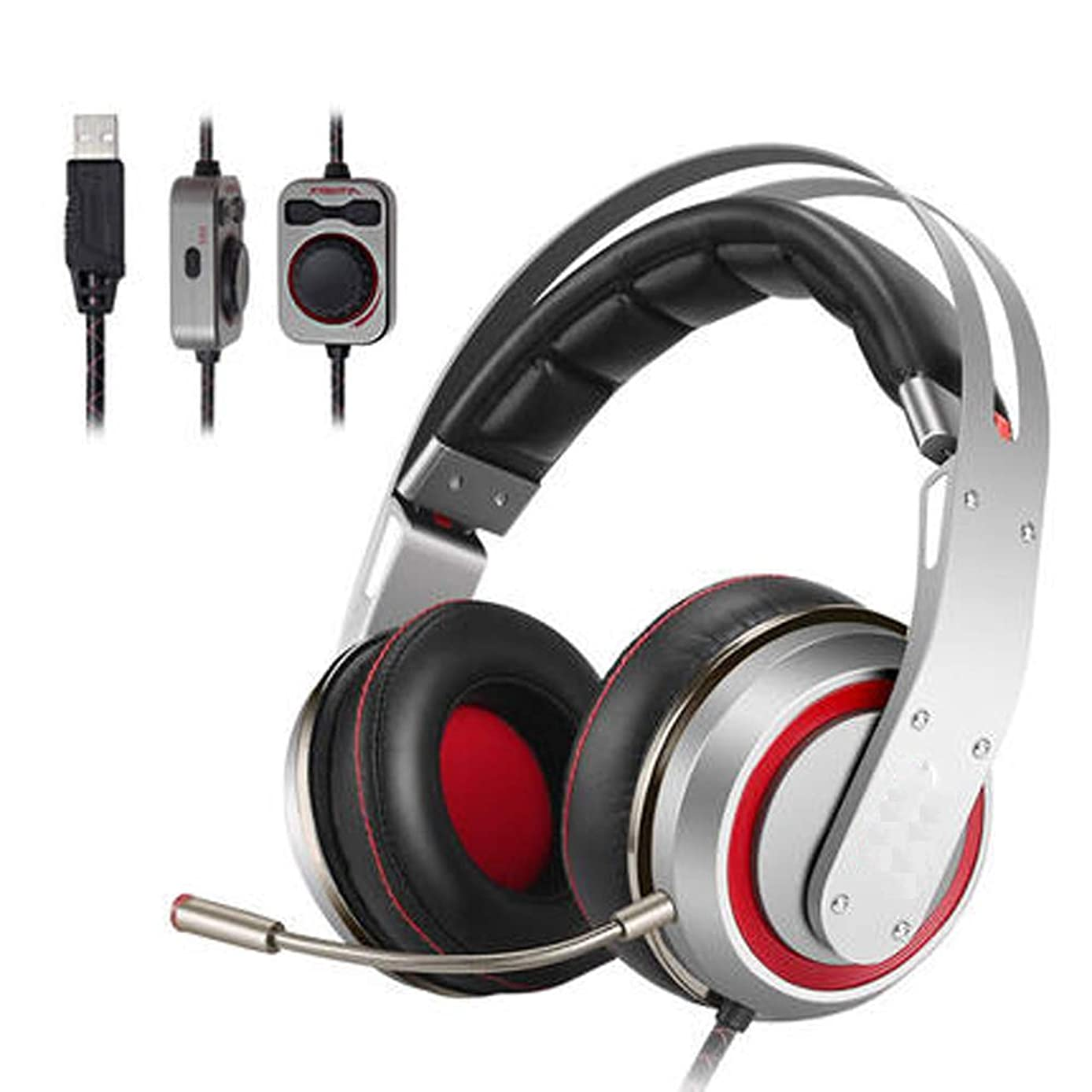 PXYUAN Gaming Headset with Mic for Xbox One PS4 PC Switch Tablet Smartphon, 3D Sound Active Smart Noise Reduction Microphone, USB Jack-Silver