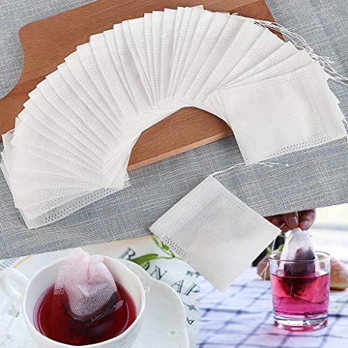 Makaor 100 PCS Teabag Empty Nonwoven Disposable Multiusage Stripping Tea Filter (White, Size:7 X 9cm)