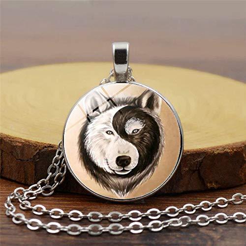 Hecho a mano de cristal cabujón lobo colgante collar de Gossip yin y yang collar joyería taoísta...