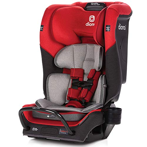Diono Radian 3QX 4-in-1 Rear & Forward Facing Convertible Car Seat | Safe+ Engineering 3 Stage Infant Protection, 10 Years 1 Car Seat, Ultimate Protection | Slim Design - Fits 3 Across, Red Cherry