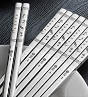 304のステンレス製の箸の世帯の滑り止めの正方形の箸の金属の速い鉄の箸家族セットの10組