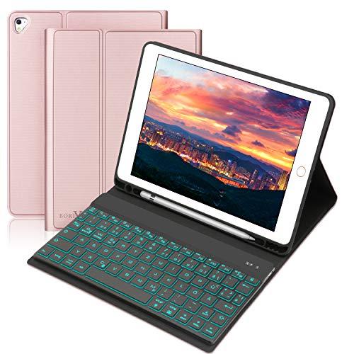 BORIYUAN Hülle Tastatur Kompatibel mit iPad 2018 (6th Gen), iPad 2017 (5th Gen), iPad Air 2/1, pro 9.7 2016 - Auto Schlaf/Aufwachen Hülle mit Hinterleuchtet Bluetooth Tastatur (German) - Rotgold