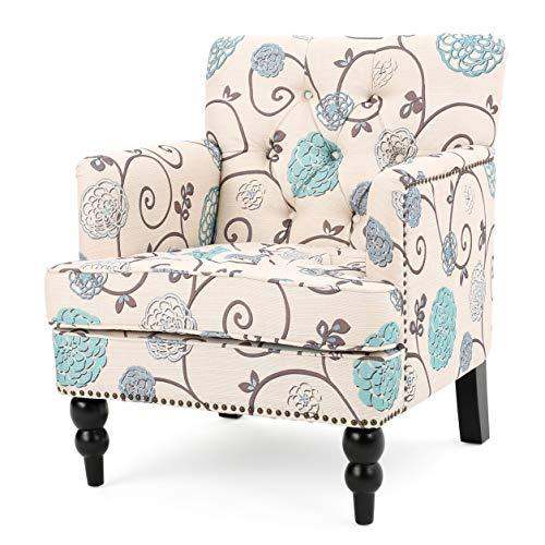 Harrison Floral White/Blue Fabric Tufted Club Chair