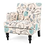 Harrison Floral White/Blue Fabric Tufted Club Chair