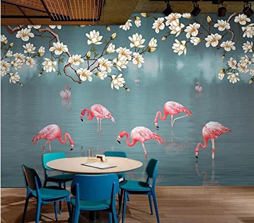 MKmd-s Theme Room Hotel KTV Hotel Restaurant 3D Mural, Hand Drawn Tropical rain Forest Flamingo