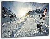Snowboard im Schnee Format:60x40 cm Bild auf Leinwand