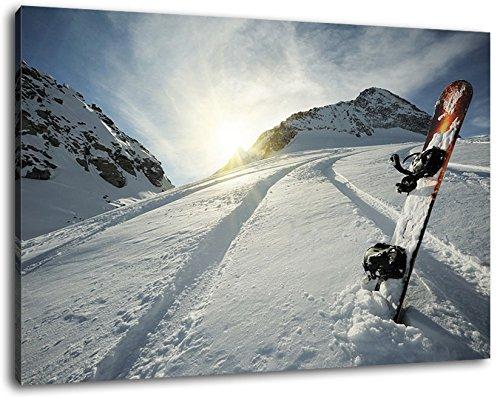 Snowboard im Schnee Format:60x40 cm Bild auf Leinwand bespannt, riesige XXL Bilder komplett und fertig gerahmt mit Keilrahmen, Kunstdruck auf Wand Bild mit Rahmen, günstiger als Gemälde oder Bild, kein Poster oder Plakat