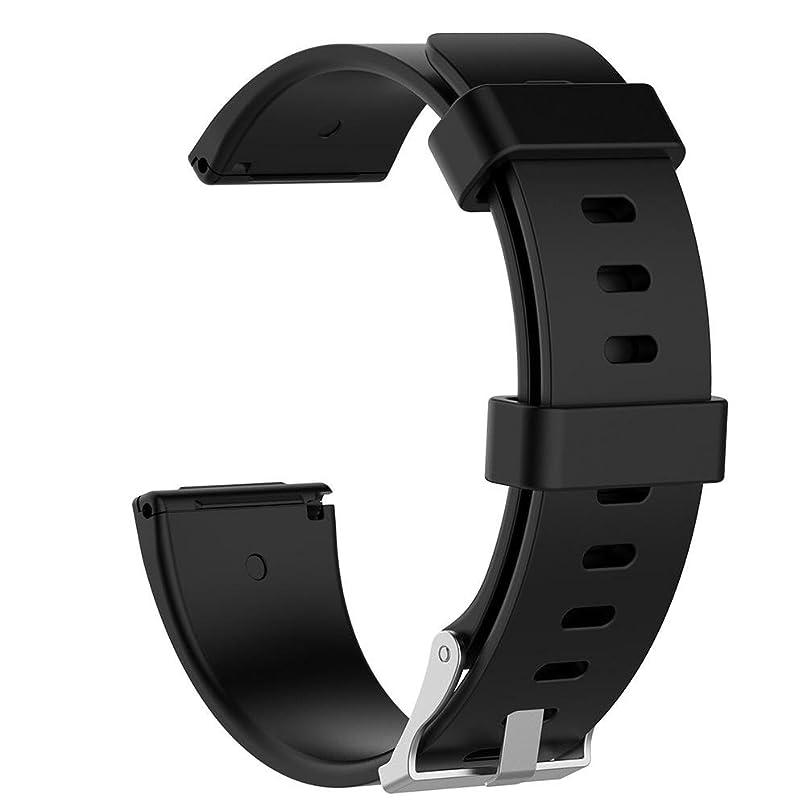 グレード取り壊す規範Everpert Fitbit Versaバンド スマートウォッチ交換ベルト 腕時計バンド Fitbit Versa用交換ストラップ ソフト シリコーン ブラック