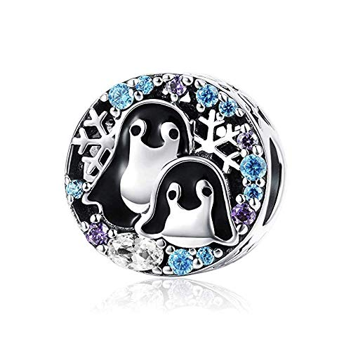 Bird Charm Sterling Silver Fashion Jewelry Animal Charm Bead for Pandora Bracelets (Penguin Charm)
