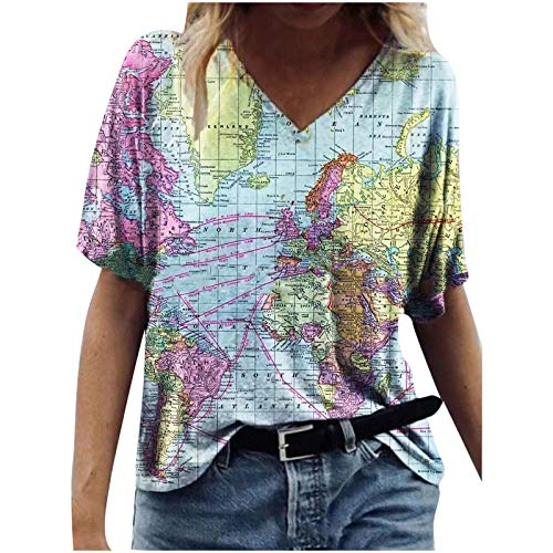 Damen Tops Casual Weltkarte Motiv Pullover 3D-gedrucktes T-Shirt Neuartige Kurzarm-Tunika-Bluse mit V-Ausschnitt und Lockerem Tunika(L,Blau)