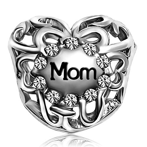 JMQJewelry Mother Mom Son Daughter Heart Love Birthstone Birthday April White Charms For Bracelets Valentine's Day Thanksgiving