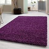 Hochflor Shaggy Teppich für Wohnzimmer Langflor Pflegeleicht Schadsstof geprüft 3 cm Florhöhe Oeko Tex Standarts Teppich, Maße:120x170 cm, Farbe:Lila
