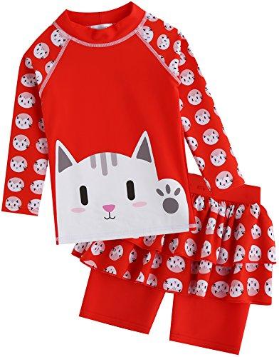 Vaenait baby 2T de 7T Enfants Maedchen Rashguard 23404Chemise à Manches Longues et Pantalon Court Large Hello Cat
